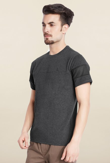 Parx Dark Grey Solid T-Shirt