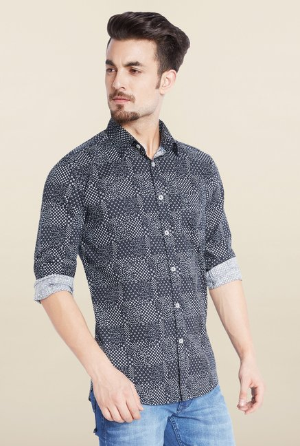 Parx Navy Printed Casual Shirt