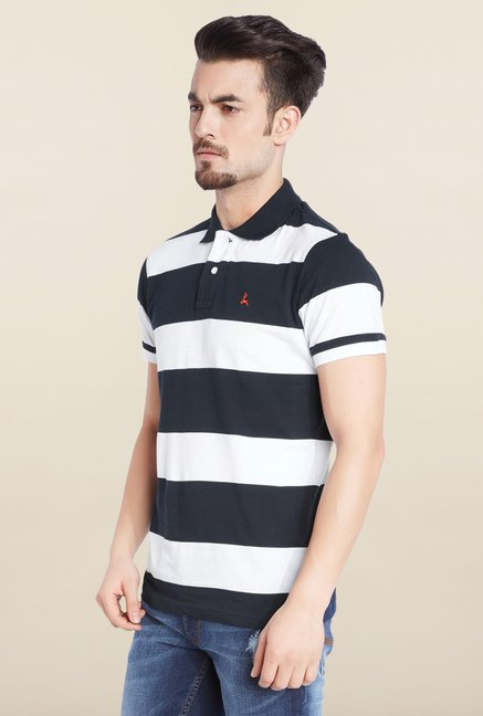Parx Navy & White Striped Cotton T-Shirt
