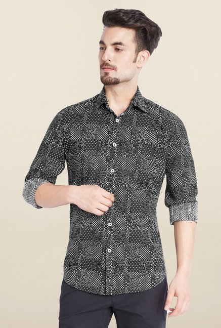 Parx Black Printed Casual Shirt