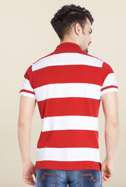 Parx Red & White Striped Cotton T-Shirt