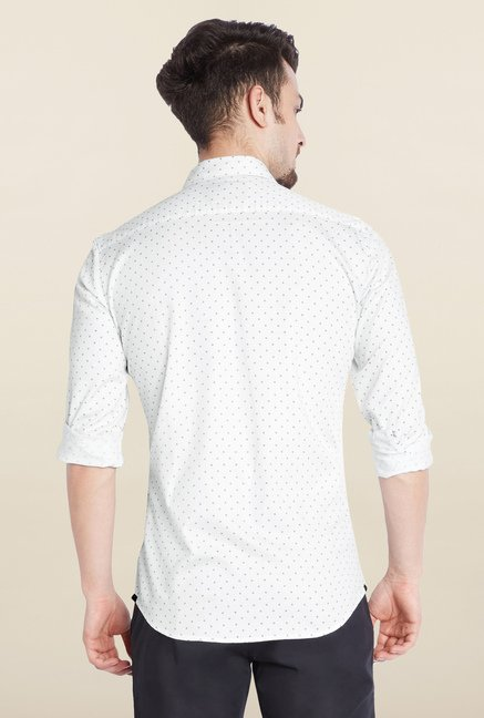 Parx White Printed Casual Shirt
