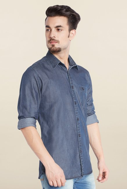 Parx Blue Casual Shirt