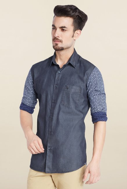 Parx Navy Solid Shirt