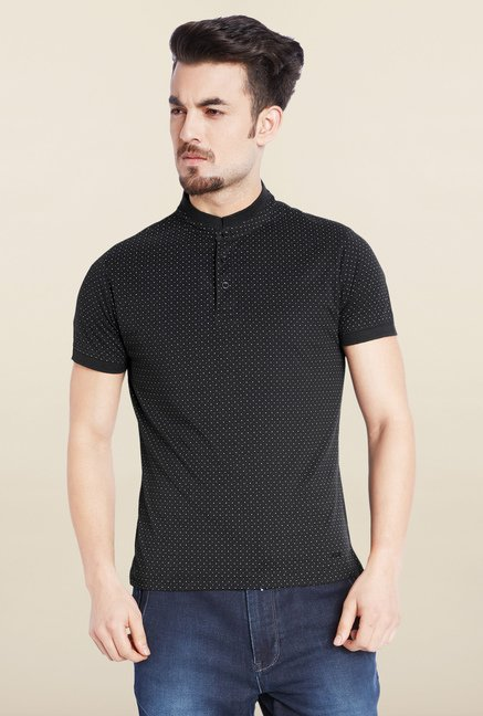Parx Black Printed Cotton T-Shirt