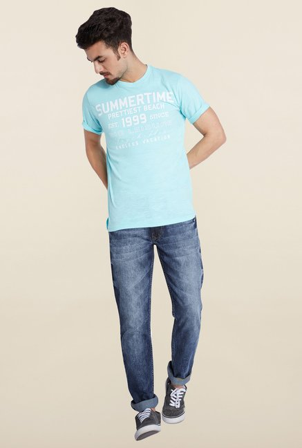 Parx Blue Slim Fit Mid Rise Jeans