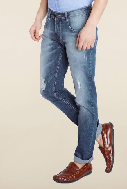 Parx Blue Tattered Slim Fit Jeans