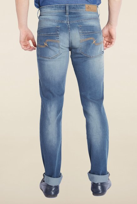Parx Blue Lightly Washed Slim Fit Jeans
