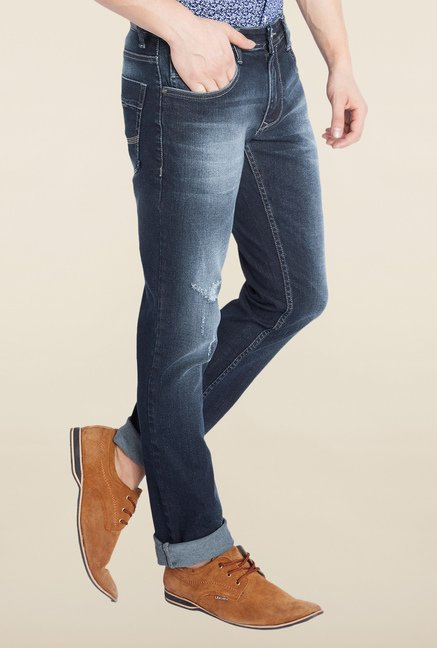 Parx Blue Slim Fit Tattered Jeans
