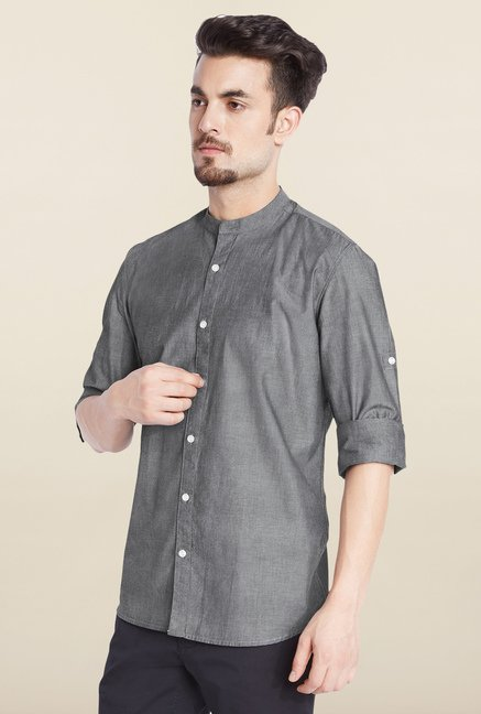 Parx Dark Grey Solid Casual Shirt