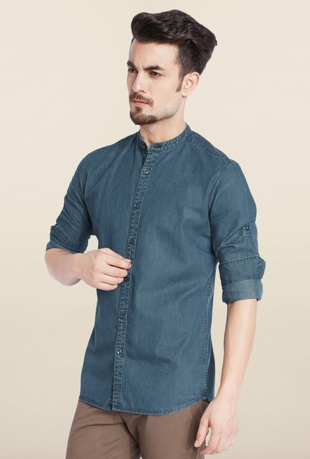 Parx Blue Solid Casual Shirt