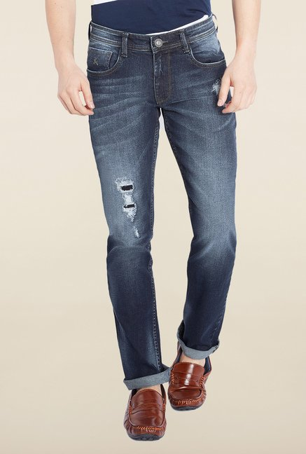 Parx Blue Mid Rise Slim Fit Jeans