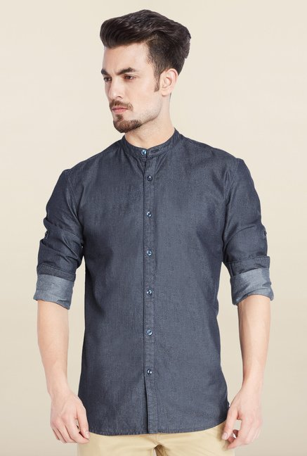 Parx Navy Solid Casual Shirt