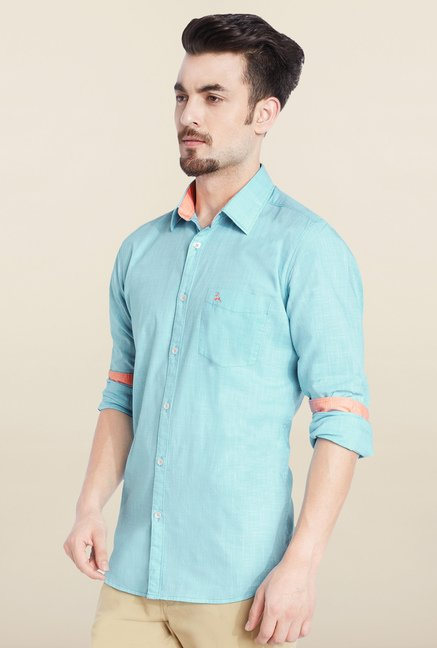 Parx Light Blue Solid Casual Shirt