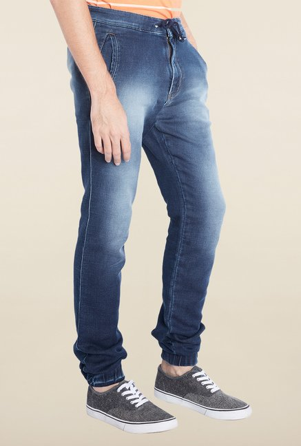 Parx Blue Lightly washed Comfort Fit Jeans