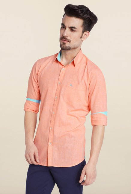 Parx Peach Solid Casual Shirt