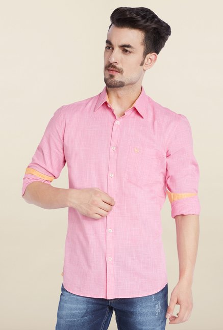 Parx Pink Solid Casual Shirt
