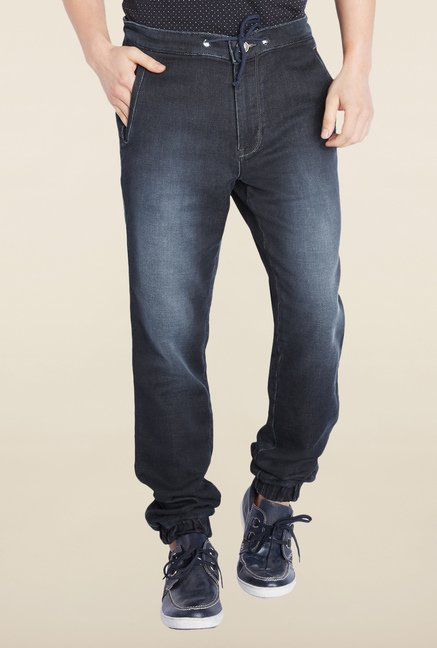 Parx Navy Lightly washed Comfort Fit Jeans