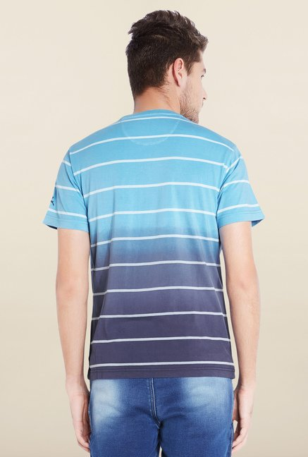 Parx Blue Striped Cotton T-Shirt