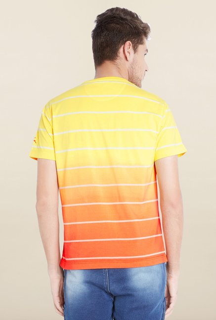 Parx Yellow Striped Cotton T-Shirt