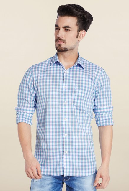 Parx Blue Checks Casual Shirt
