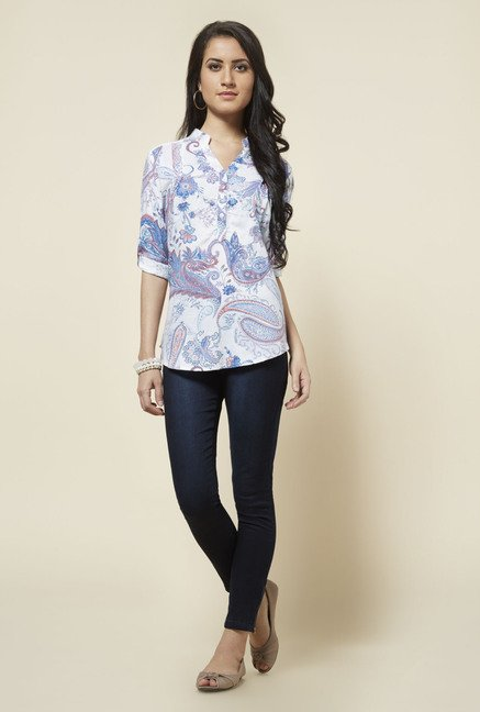 Zudio White Gabby Printed Blouse