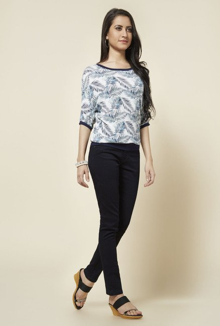 Zudio White Kimi Printed Top