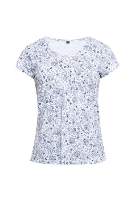 Zudio White Printed T Shirt