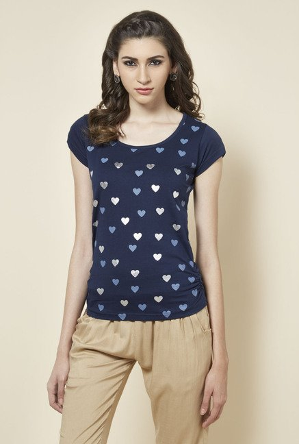 Zudio Navy Heart Printed Top