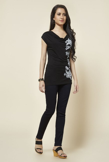 Zudio Black Cowl Neck Printed Top