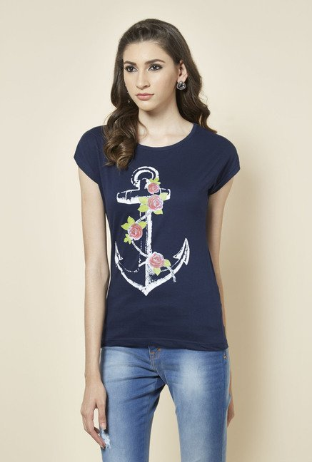 Zudio Navy Anchor Printed T Shirt