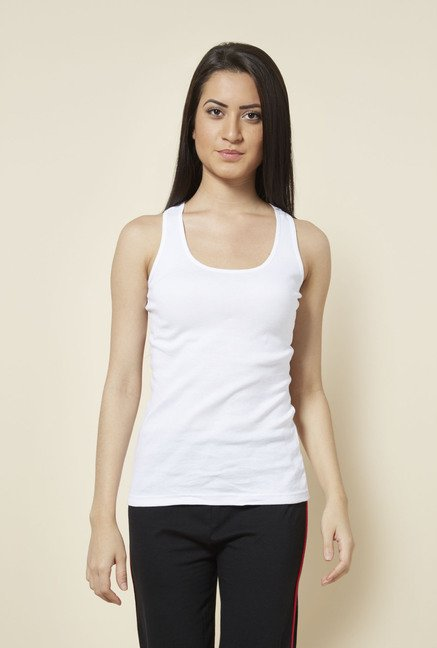 Zudio White Solid Racerback Top