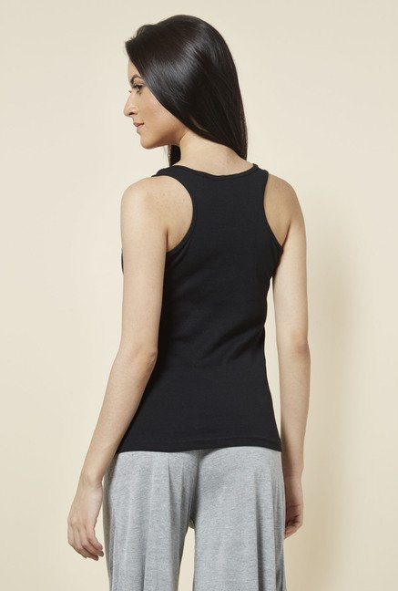 Zudio Black Solid Racerback Top