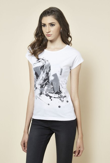 Zudio White Girl Face Printed T Shirt