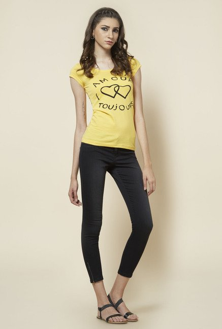 Zudio Yellow Printed Regular Fit T Shirt