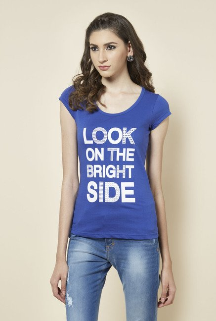 Zudio Blue Printed Regular Fit T Shirt
