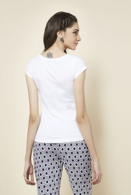 Zudio White Printed Round Neck T Shirt