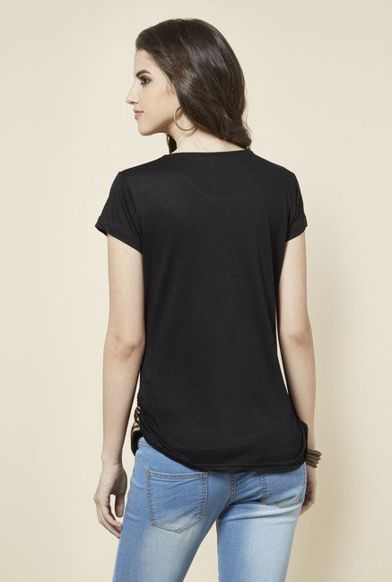 Zudio Black Printed Round Neck Top