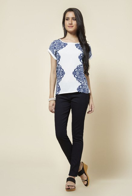 Zudio White Tally Printed Top