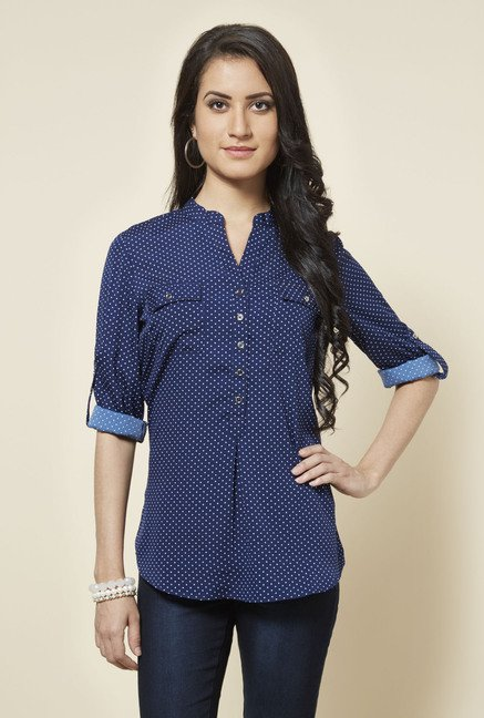 Zudio Blue Topsy Printed Blouse