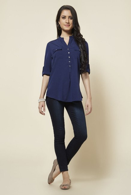 Zudio Navy Topsy Solid Blouse