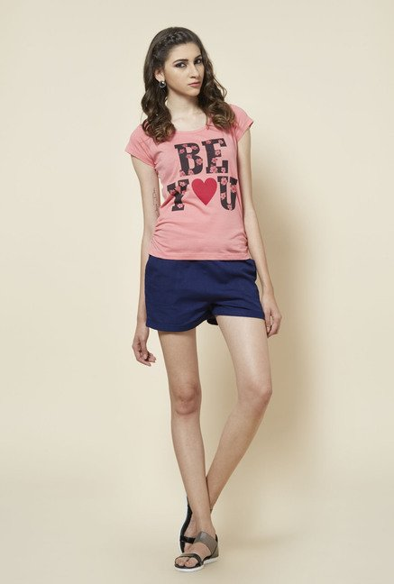 Zudio Pink Floral Text Printed T Shirt