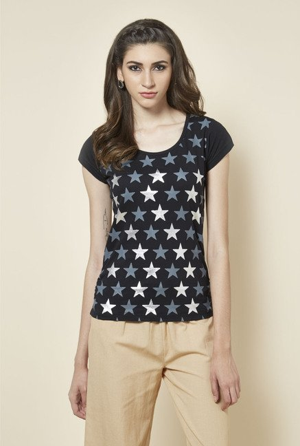 Zudio Black Star Printed T Shirt