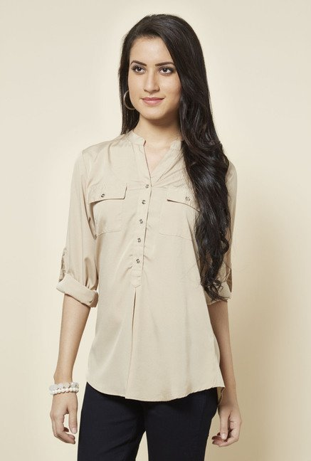 Zudio Taupe Topsy Solid Blouse