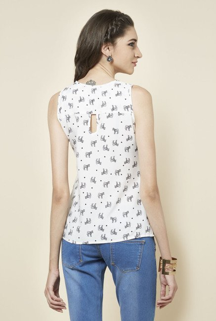 Zudio White U Neck Printed Blouse