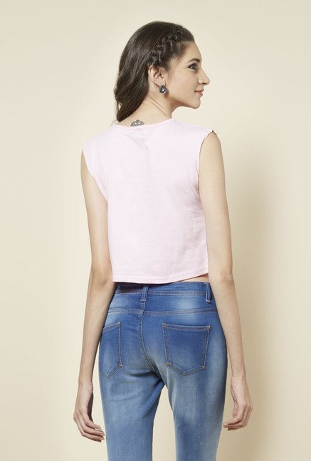 Zudio Light Pink Printed Sleeveless T Shirt