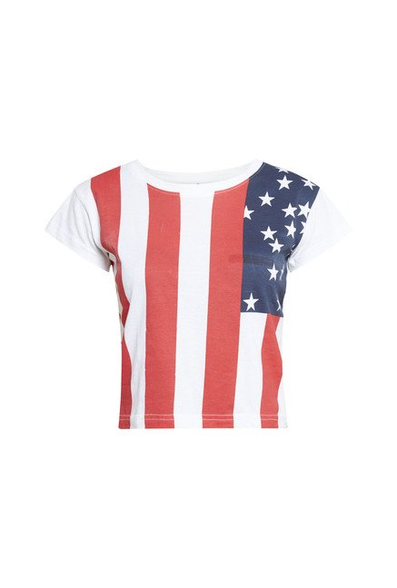 Zudio White USA Flag Printed T Shirt