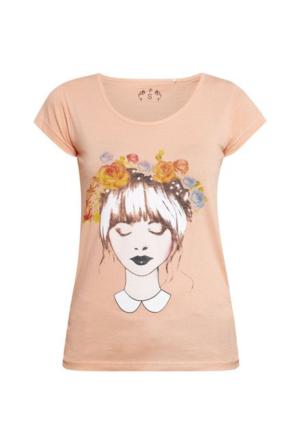 Zudio Peach Girl Face Printed T Shirt
