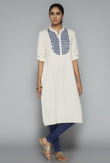 Utsa Cream Solid Kurta