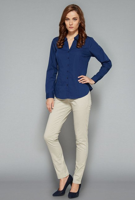 Wardrobe Navy Solid Rita Blouse